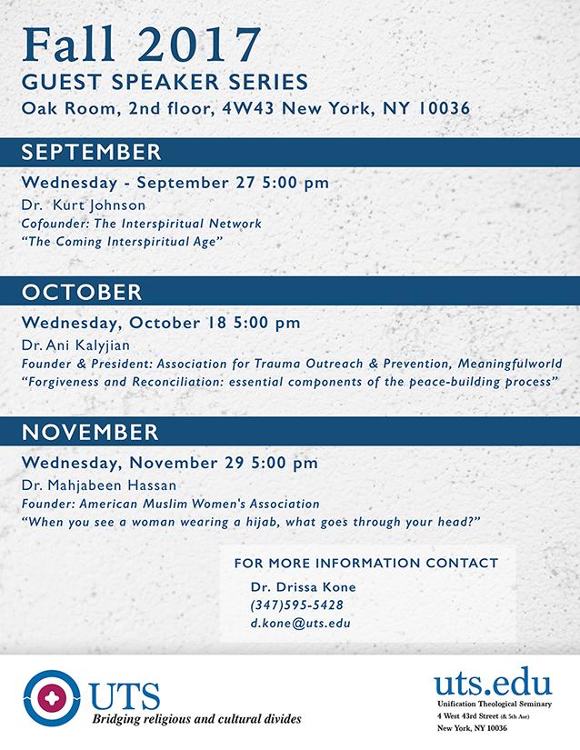 UTS Guest Speaker Flyer Fall 2017