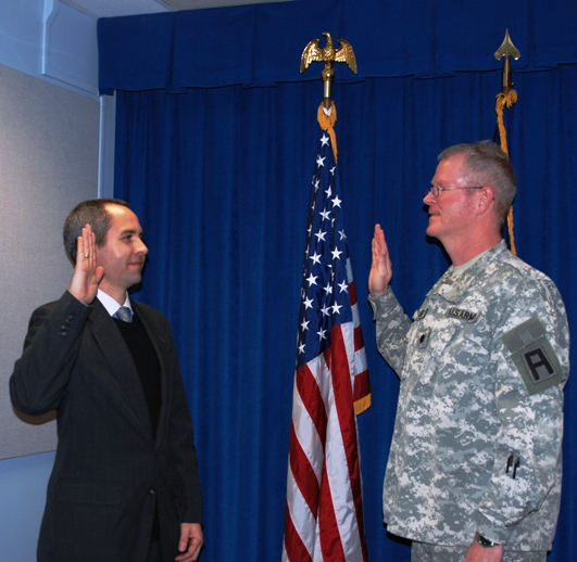 Chris Antal gets sworn in as army chaplain