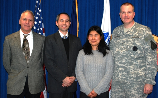 From left: Chris' father, Richard Antal, Chris and his wife Mitsuko with Military chaplain Glen Lightfoot