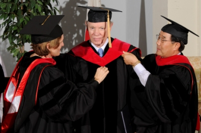 Dr. Douglas Johnston receives his honorary degree Doctor of Humane Letters, honoris causa.