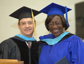 Rev. Margaret Obama on right with UTS president, Dr. Richard Panzer