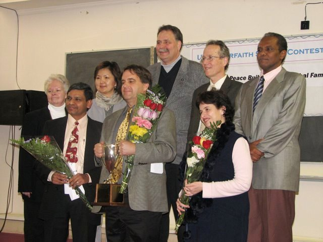 The top 3 (from left): Paul Rajan, Kevin Thompson and M. Kamar with  the contest's judges and Seminary president Tyler Hendricks