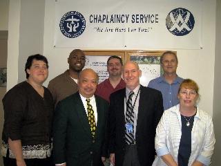 Kate (left) with her fellow chaplaincy interns and supervisor, David Elseroad (front, second from right)